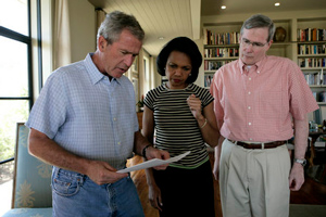 GW Buch with Stephen Hadley and Condi Rice