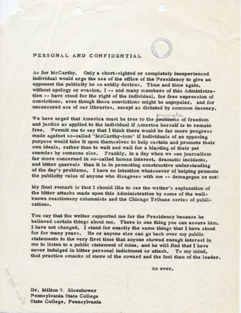 A 1953 letter from President Eisenhower to his brother Milton