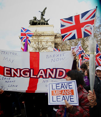 English supporters of Brexit at a rally