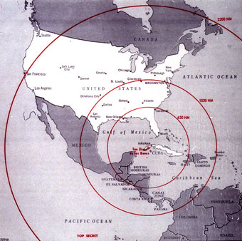 Map showing range of missiles launched from Cuba
