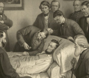 Drawing of President Lincoln on his death bed