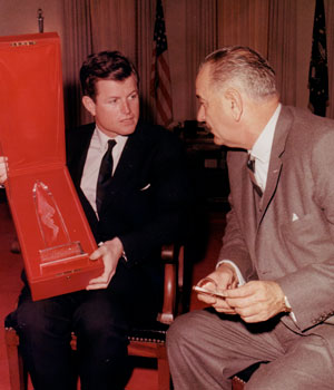 Edward Kennedy presents an award to Lyndon Johnson