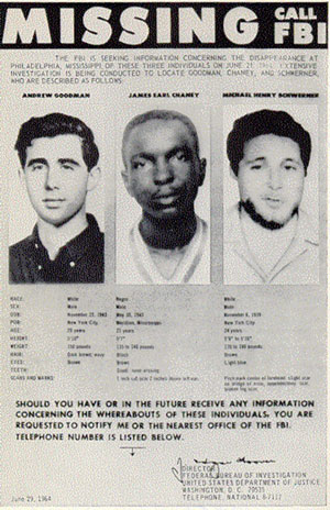 FBI poster for missing Civil Rights Workers