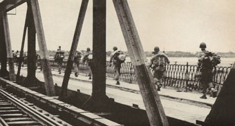 French troops on a bridge
