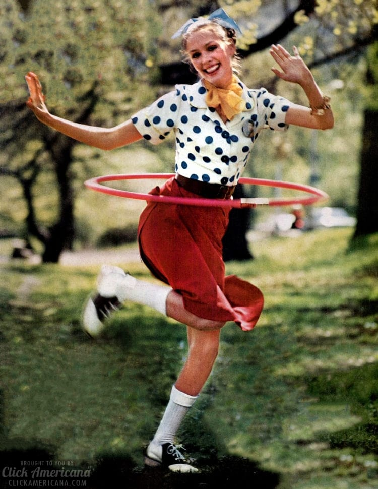 Woman hula hooping from the 1950's.