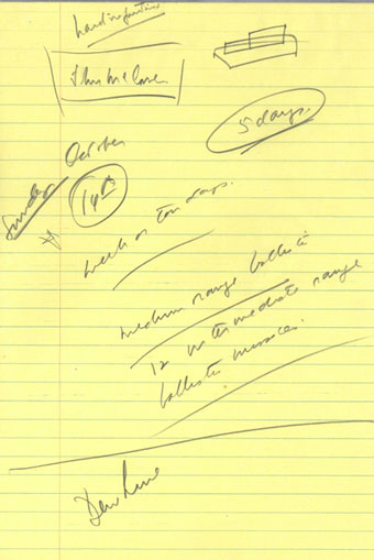 John Kennedy's handwritten note on a yellow legal pad