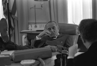 Lyndon Johnson with Larry O'Brien
