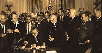 Lyndon Johnson signing the 1964 Civil Rights Act