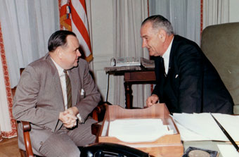 Lyndon Johnson with Walter Reuther