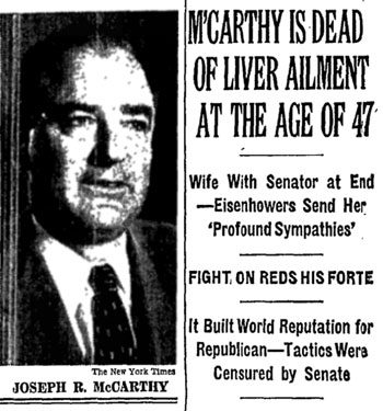 Front page New York Times story on Joe McCarthy's death