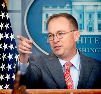 Mick Mulvaney pointing