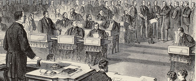 Drawing of speakers in United States Senate in 1866