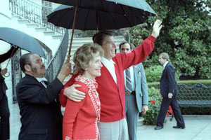 President Reagan waving at the White House on 11 April 1981