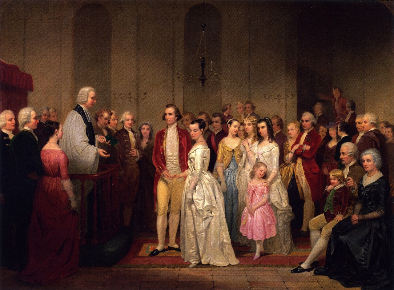 Painting of Martha and George Washington's marriage