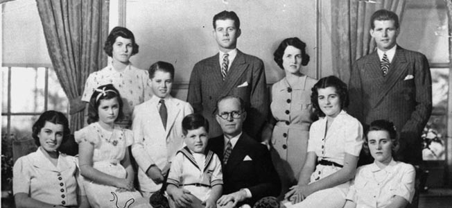 Image result for B & W photo of the Kennedy family