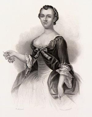 Lithograph of a young Martha Washington