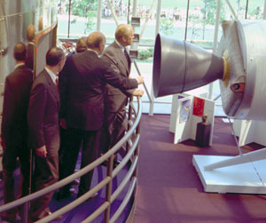 President Ford at the opening of the Air and Space Museum