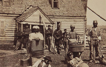 Union army troops and slaves