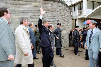 President Reagan just before he is shot