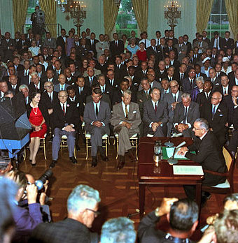 LBJ signing civil rights act