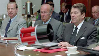 Ronald Reagan with George Shultz and James Baker