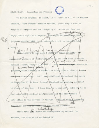 edited page of Eisenhower speech draft