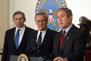 GW Bush with Wolofwitz and Rumsfeld