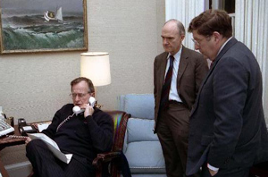 G. H. W. Bush on telephone