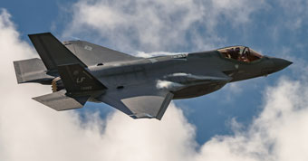 F-35 fighter jet in the air