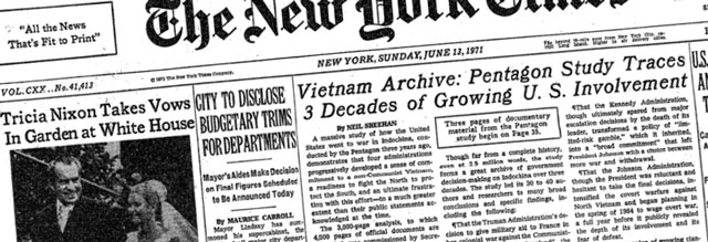 Front Page of New York Times from 13 June 1971