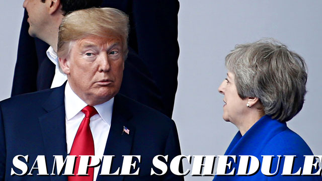 "Donald Trump and Theresa May with ""Sample Day"" as a headline over the picture"