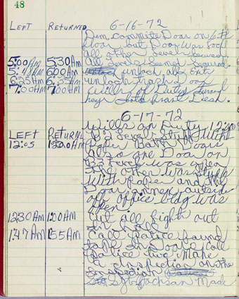 Frank Wills' entries on the 17 June 1972 security log at the Watergate office building