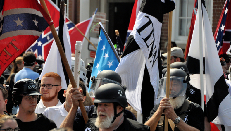 alt-right and neo-nazi protesters in Charlottesville
