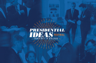 Prezfest logo - overlaid on a collage of photos of past presidents