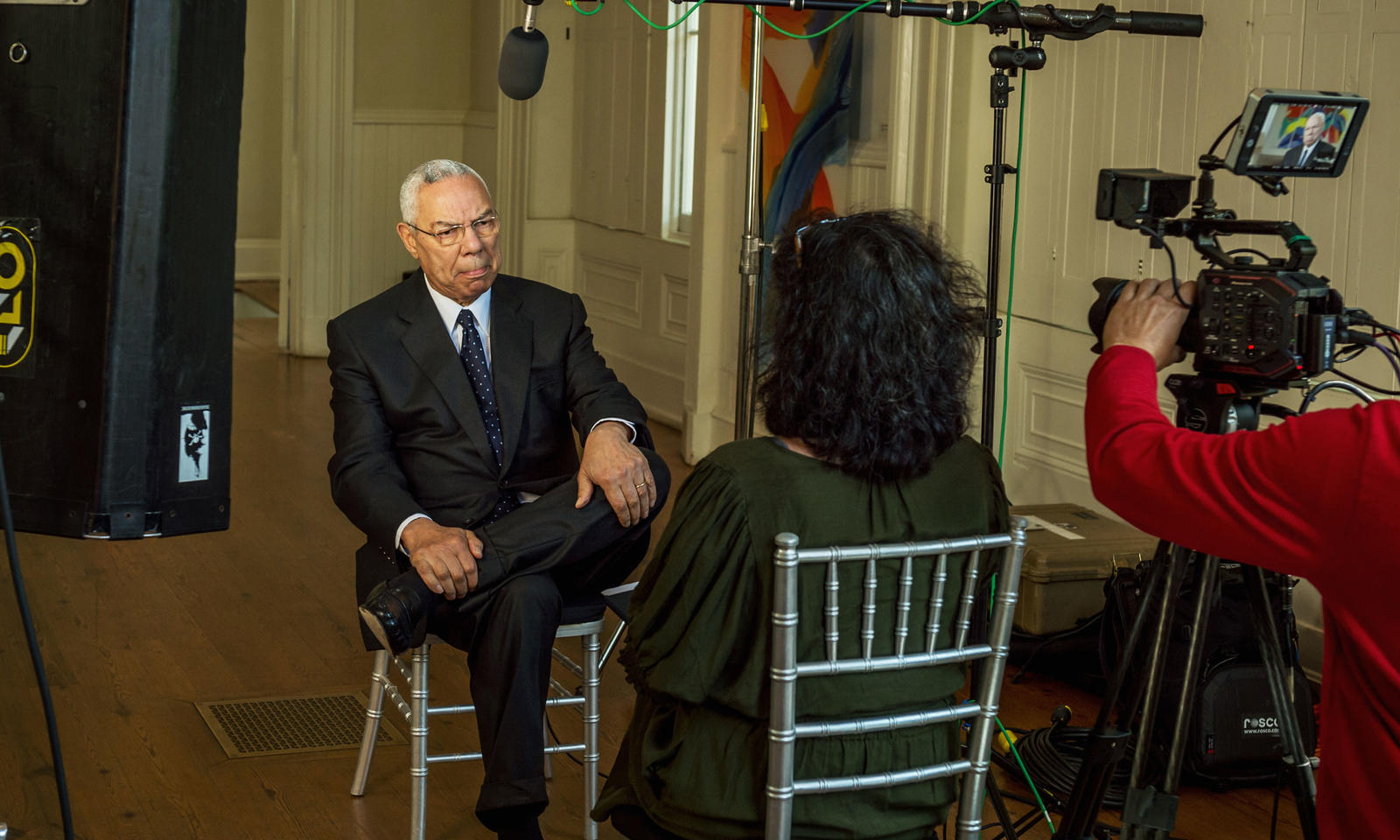 Colin Powell sits for an interview