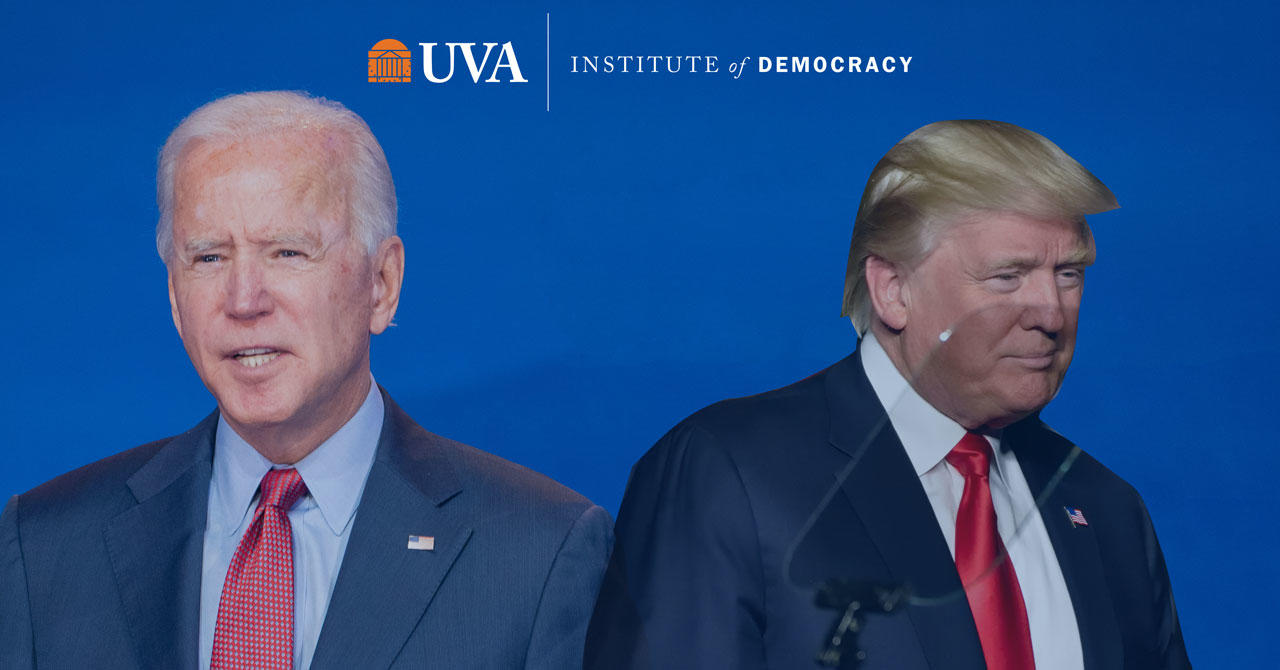 Joe Biden and Donald Trump facing in opposite directions