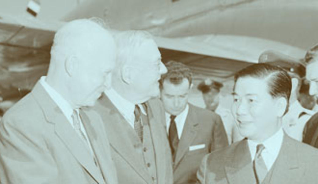 Eisenhower shakes hands with Ngo Dinh Diem