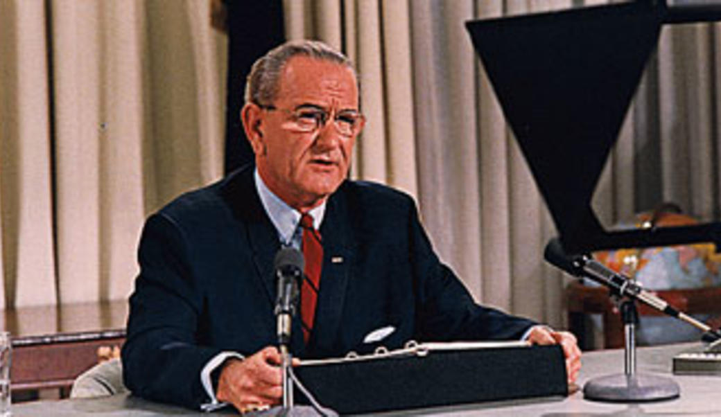 Lyndon Johnson making a televised address
