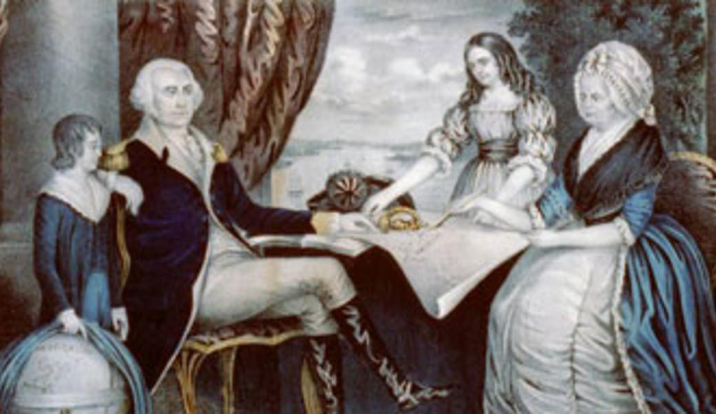 drawing of George Washington and family