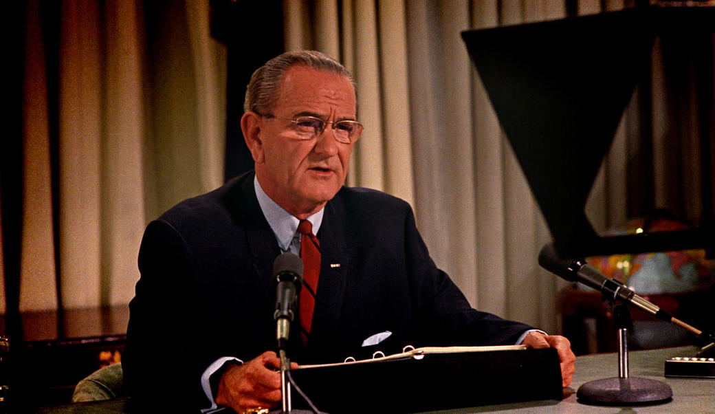 President Lyndon Johnson giving televised address