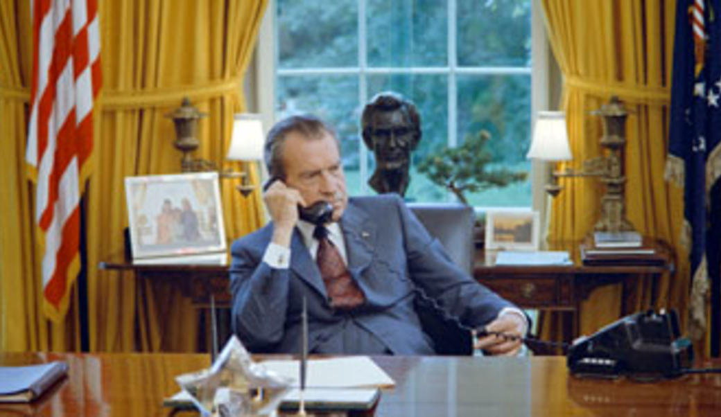 President Nixon on the phone in the Oval Office