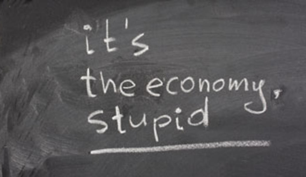 "Chalkboard that says ""it's the economy, stupid"""