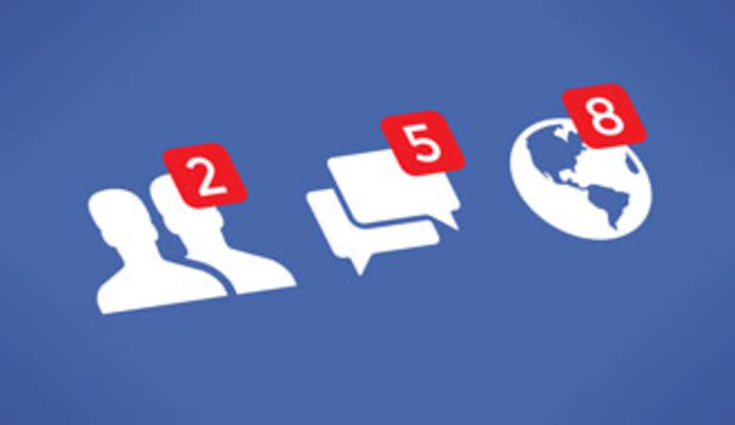 Facebook logos for people, messages, and updates