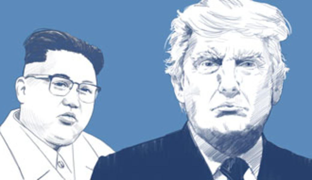 Line drawing of Kim Jong-un and Donald Trump