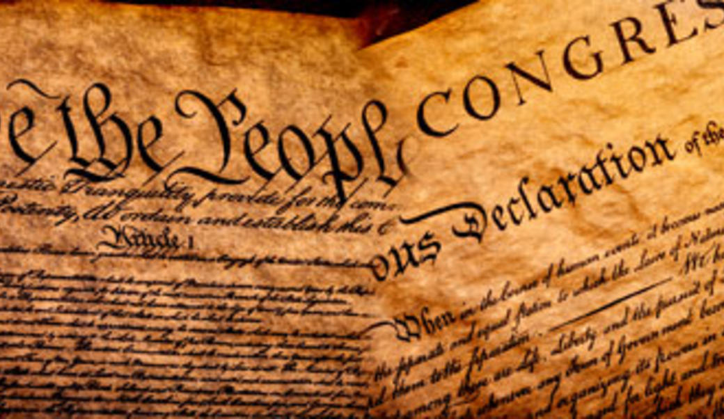 Detail of Declaration of Independence and U.S. Constitution