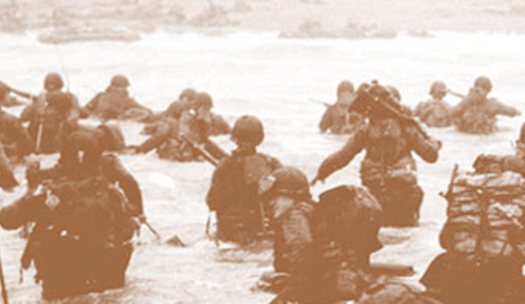 Troops in the water, landing during D-Day