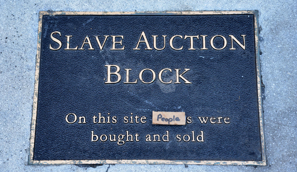 Slave auction block plaque in Charlottesville, VA