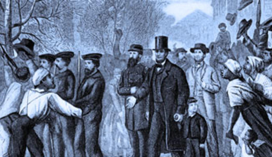 Lithograph: Lincoln enters Richmond with blue tint