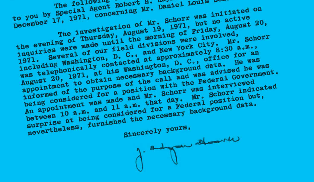 Portion of FBI letter to John Dean on Daniel Schorr