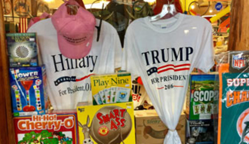 T-shirts in window: one is Trump, one is for Hillary 2016
